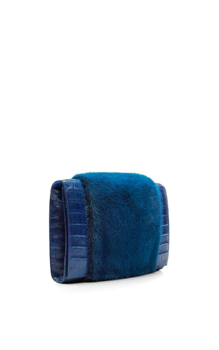 Blue Crocodile And Mink Shoulder Bag With Woven Crocodile Chain by NANCY GONZALEZ for Preorder on Moda Operandi