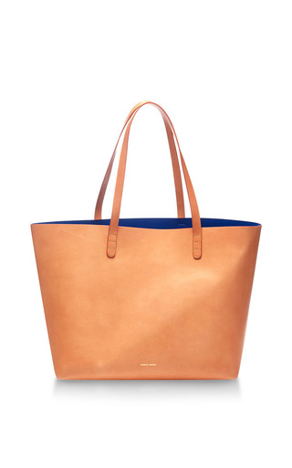 Medium mansur gavriel brown large tote coated interior in royal blue