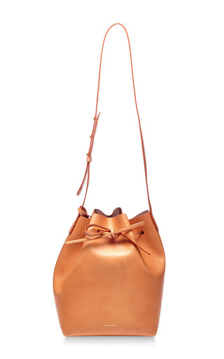 Medium mansur gavriel brown bucket bag coated interior in antico