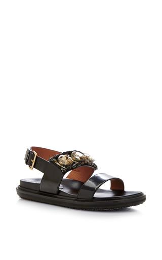 Medium marni dark grey flat sandal with beige stones