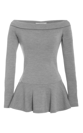 Medium rodarte dark grey grey wool jersey off the shoulder tunic top