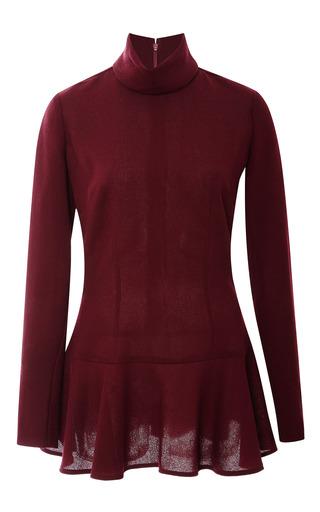 Medium rodarte burgundy burgundy wool crepe tunic turtleneck
