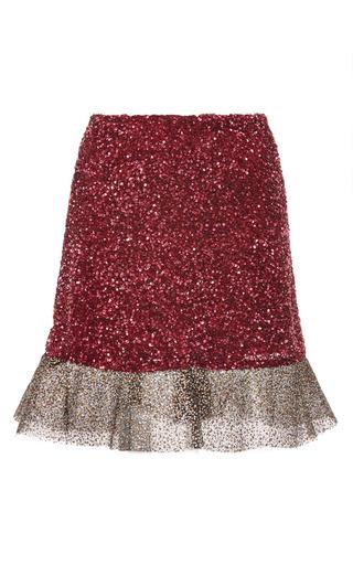 Medium rodarte burgundy raspberry sequin skirt with glitter tulle ruffle