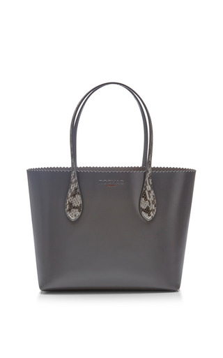 Medium rochas dark grey mini tote with colored handle
