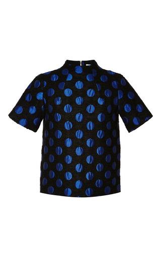 Medium suno blue polka dot jacquard funnel top