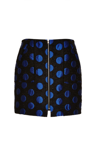 Medium suno blue polka dot jacquard zipped mini skirt