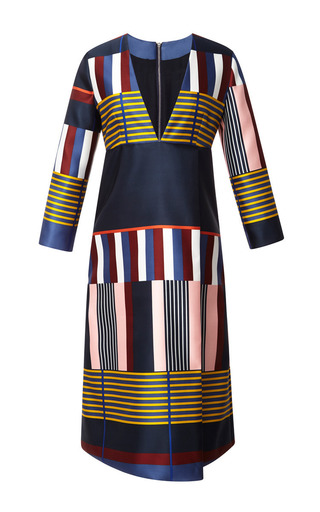 Medium suno multi multistripe placement faux wrap dress