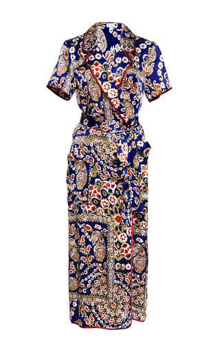 Medium suno multi stamped tapestry with wine piping wrap dress