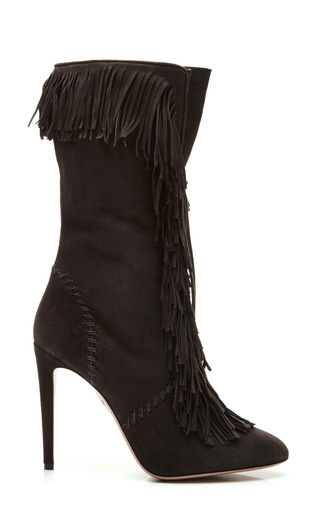 Medium aquazzura black carly fringe boot