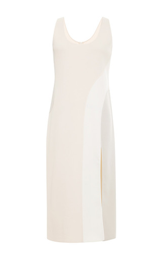 Medium marc jacobs white sleevless tank dress with contrast insert and slit