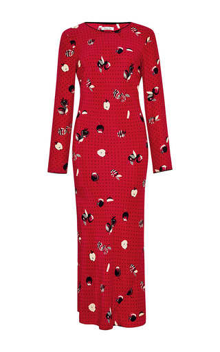 Medium piamita red andrea long sleeve dress in red apple print