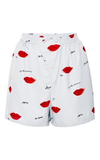 Dania Lip Print Silk Shorts by PIAMITA Now Available on Moda Operandi