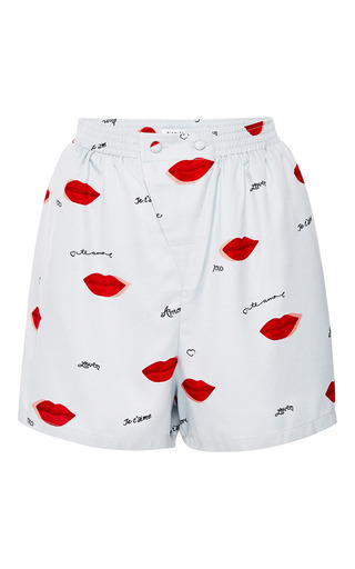 Dania Lip Print Silk Shorts by PIAMITA Now Available on Moda Operandi