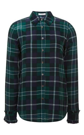 Medium equipment green harrison shirt with ruffle cuffs