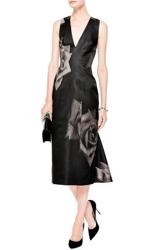Printed Silk Gazar V Neck Dress by JOSH GOOT Now Available on Moda Operandi
