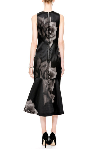Printed Silk Gazar V Neck Dress by JOSH GOOT Now Available on Moda Operandi