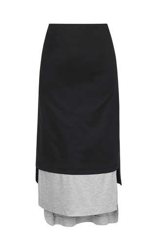Medium josh goot black basic layered long line skirt 2