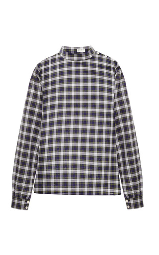 Medium kule plaid plaid birdie bee banded collar blouse