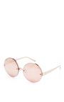 Metal Round Frame Mirrored Sunglasses by LINDA FARROW Now Available on Moda Operandi