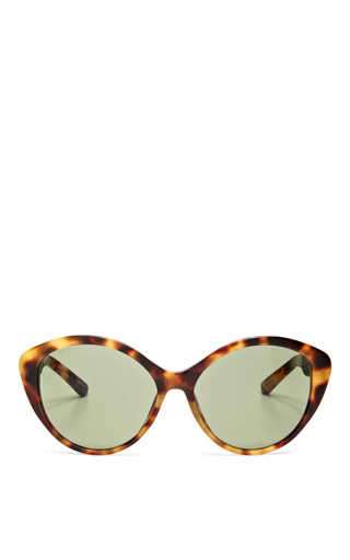 Medium linda farrow brown the row walnut leather with green lens