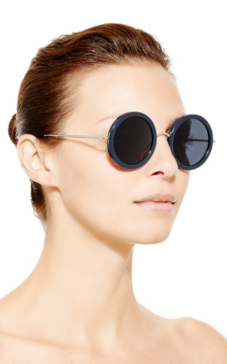 For The Row Round Frame Sunglasses by LINDA FARROW Now Available on Moda Operandi