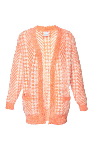 Medium karla spetic orange fluffy chevron cardigan 2