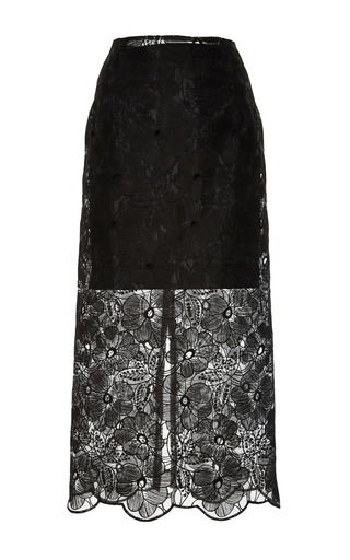 Medium karla spetic black embroidered floral skirt