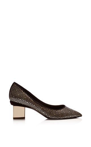 Medium nicholas kirkwood black black and gold jacquard and platino chromed heel pump 2