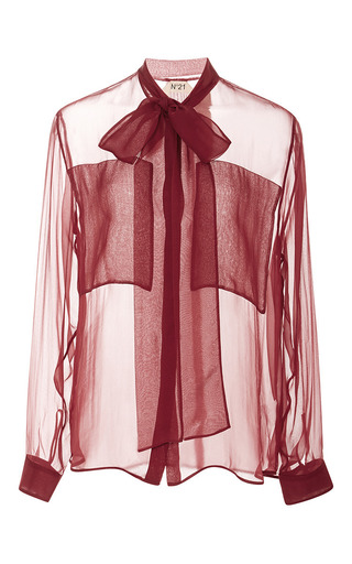 Medium no 21 red ines bow chiffon shirt