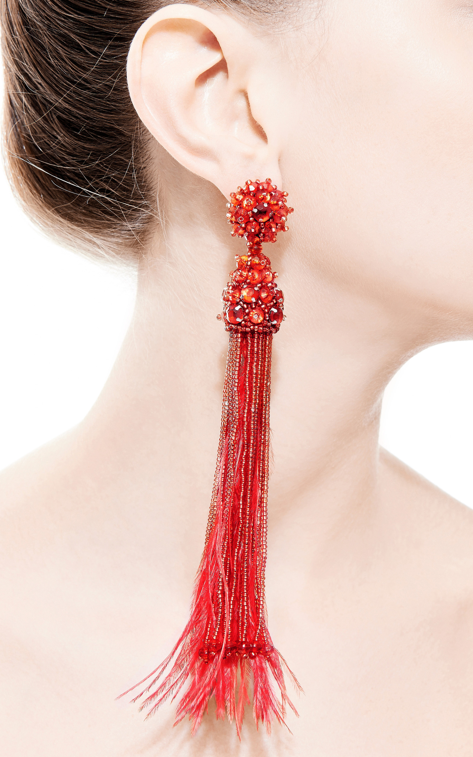 Feather Beaded And Crystal Clip Earrings In Red By Moda Operandi
