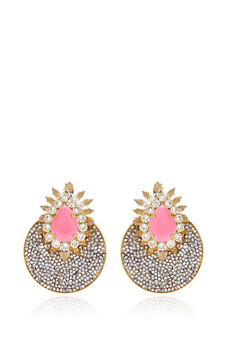 Luna Gold Plated Crystal Earrings by SHOUROUK Now Available on Moda Operandi