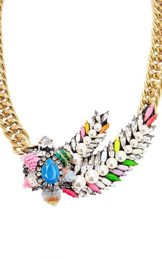 Pimp Aigrette Crystal And Sequin Gold Plated Necklace by SHOUROUK Now Available on Moda Operandi