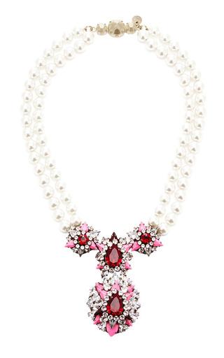 Medium shourouk pink swan pearl rose necklace