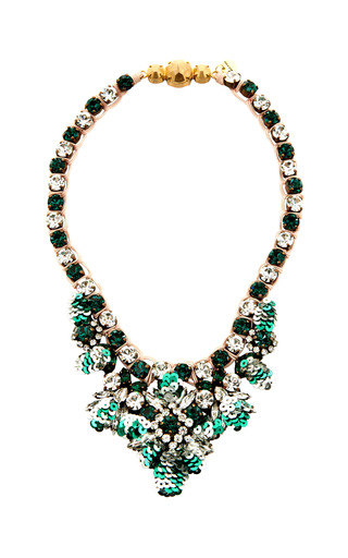 Medium shourouk green mini theresa sequins emerald necklace