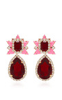 Galaxy Gold Plated Swarovski Crystal Earrings In Pink by SHOUROUK Now Available on Moda Operandi