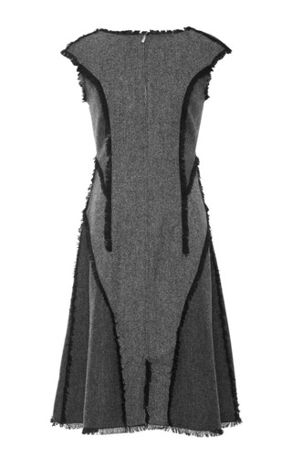 Medium thom browne dark grey zip front flared dress in donegal wool with charcoal panel with frayed edge