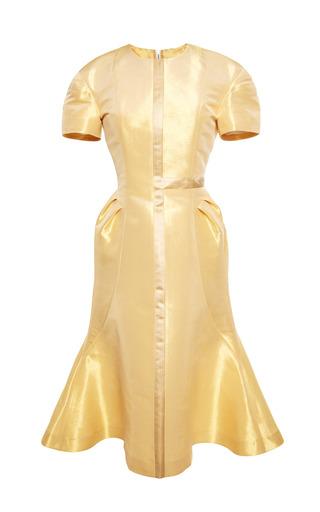 Medium thom browne gold half cross flared dress with tucks in gold lame