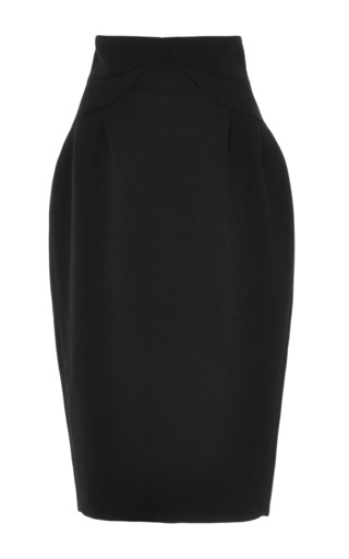 Medium thom browne black knee length round hip skirt with tucks in black double face wool crepe with tonal radial stitch yoke
