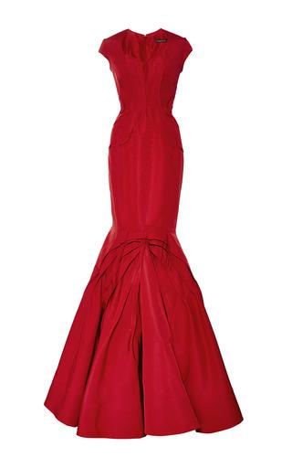 Medium zac posen red paneled silk faille gown