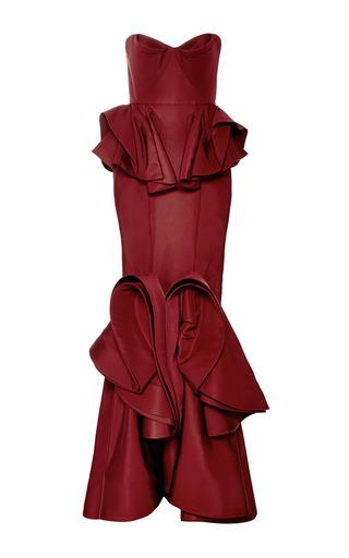 Medium zac posen burgundy silk faille sleeveless gown in burgundy