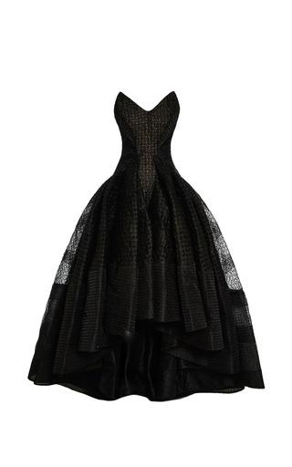 Medium zac posen black embroidered organza strapless gown