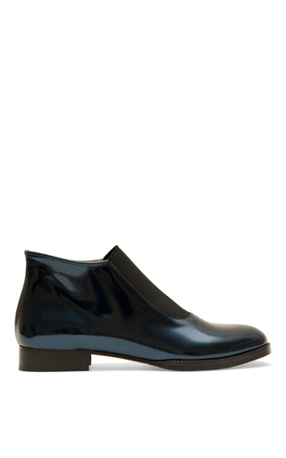 Metallic Blue Bea Boot by CARMELINAS for Preorder on Moda Operandi