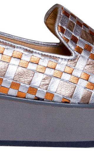 Tita Silver Woven Checkers Platform by CARMELINAS for Preorder on Moda Operandi