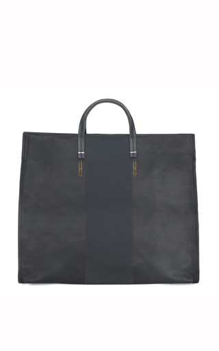 Black Carry All Tote With Black Suede Stripe Initials Bq by CLARE V. for Preorder on Moda Operandi
