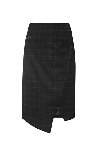 Medium jonathan simkhai dark grey asymmetric plaid zip skirt