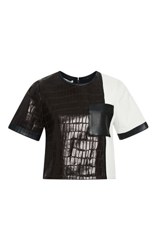 Medium jonathan simkhai brown croc combo tee