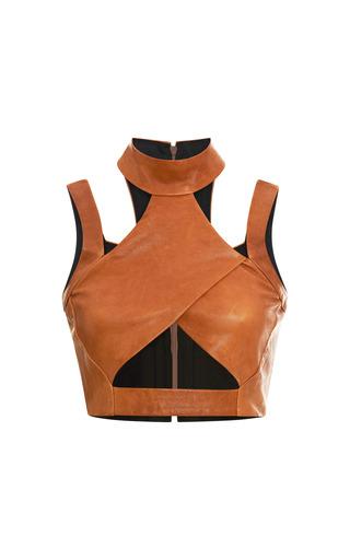 Medium jonathan simkhai brown leather cross turtleneck