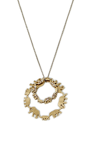 Medium marc alary gold 18k white gold and pave diamond multiple elephant pendant