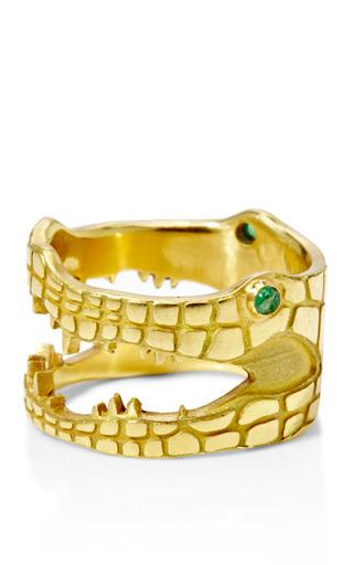 Medium marc alary gold 18k yellow gold crocodile ring with emerald eyes