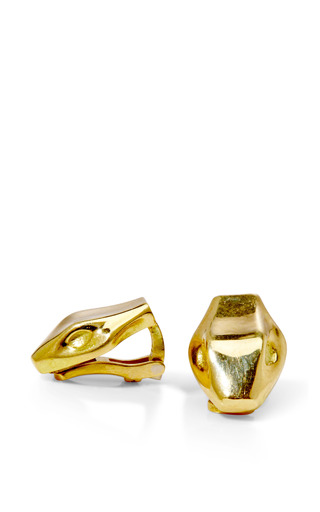 Medium marc alary gold 18k yellow gold snake clip on earrings